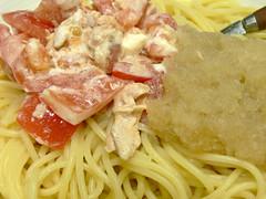 ツナマヨネーズと大根おろしのスパゲティ丼
