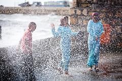 Children having fun at the seaside (damonlynch) Tags: ocean girls boy sea people children persian iran muslim islam headscarf hijab persia iranian seaspray shiite oceanspray golestan golestanprovince upcoming:event=916887 bandarturkman
