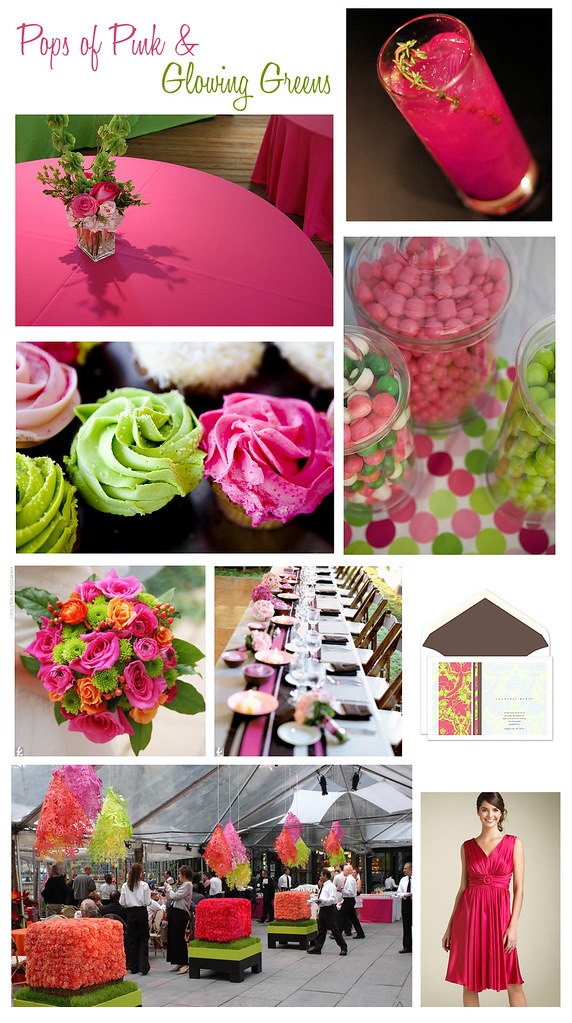 pink orange green wedding bridal shower inspiration board