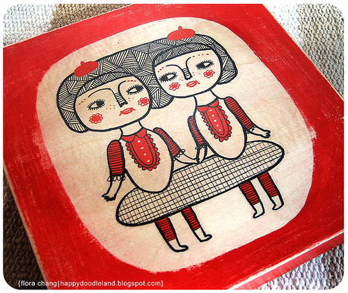 Sisters on Wood Block