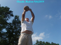 Poppa shooting basketball (Granny Hudson) Tags: trees basketball jump grandfather oldman bluesky grandpa pop granddad oldpeople granddaddy bellybutton papaw poppa oldfolk seniorcitizen jumpshot growingold whitemencantjump youngatheart