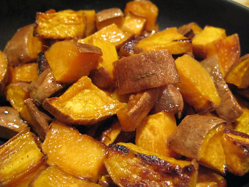 Miso-glazed sweet potatoes
