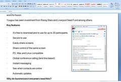 Web 2.0 screen share on Yuuguu background document with chat client showing