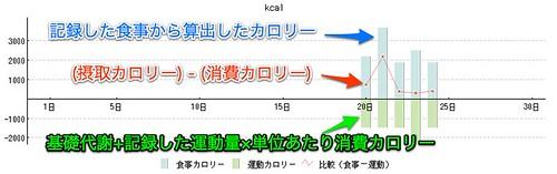 カラダカラノートを使ったカロリー収支グラフ
