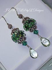Emerald Flowers (jewelsbyldesigns) Tags: flowers green glass beautiful crystal feminine unique jewelry sterling swarovski earrings amethyst lampwork artisan