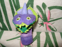 Rafaela, handmade finger puppet (Funky Shapes) Tags: uk animals monster children handmade unique oneofakind crafts felt gift kawaii bebe etsy feltro dsm wholesale