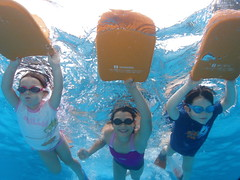 The race is on (Denise Lamby) Tags: family summer portrait water pool kids swimming training children fun underwater action group racing coaching challenge kickboard