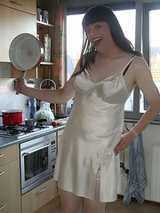 Chef Paula (Paula Satijn) Tags: white stockings smile shiny tgirl transvestite slip satin nightdress nighty nightie
