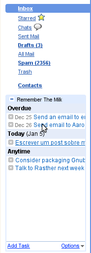 Using the Remember the Milk gadget to keep organized