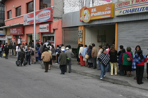 Queing up for whatever reason, getting money or something, I suppose...Ambato, Ecuador.
