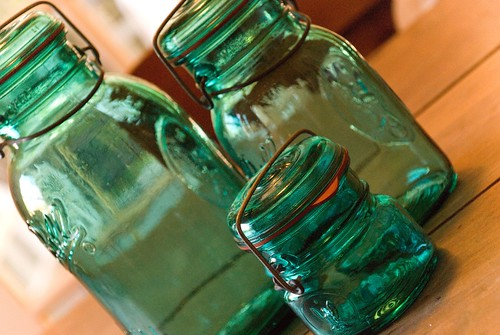turquoise ball jars - thrifting find