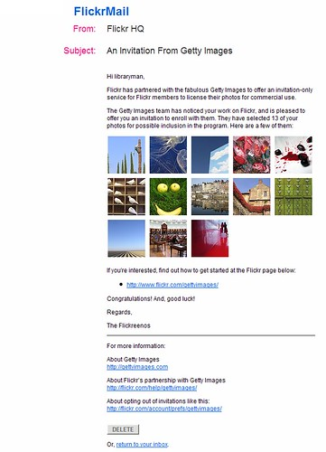 Invite to Sell Pics On Getty via flickr