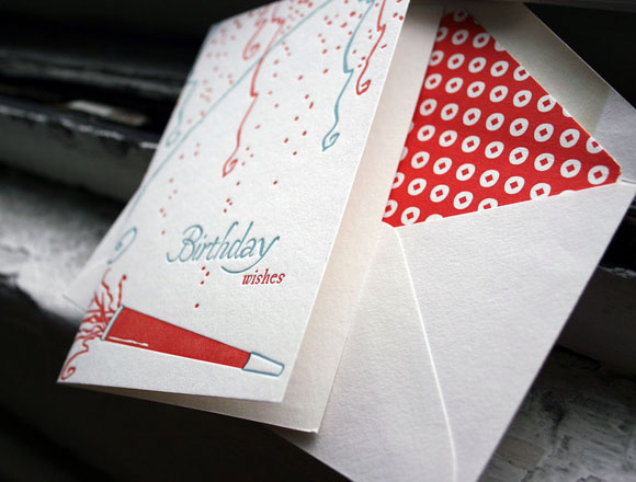 Letterpress greeting card - happy birthday - by Smock