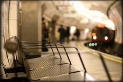 The Tube wakes up (Che-burashka) Tags: street london train bench metro bokeh tube gettys shallowdepthoffield 400d gettyskn
