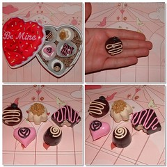 Special Edition for Valentine - 5X Chocolates Magnets in Heart Box (polymer clay) Set C (yifatiii) Tags: food love coffee pc holidays candy box chocolate nuts valentine polymerclay fimo gift sculpey etsy magnet tls truffles varnish perlin bemine premo loveya silvercups yifatiii liquidpolymerclay