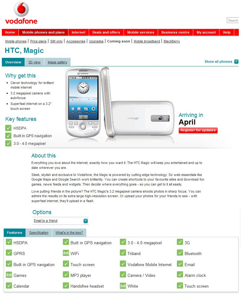 HTC Magic G2 chez Vodaphone
