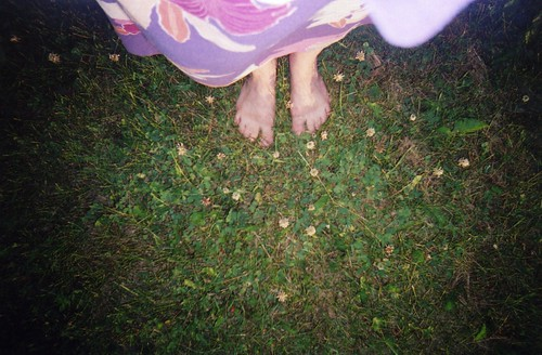 my feet & dress & the grass