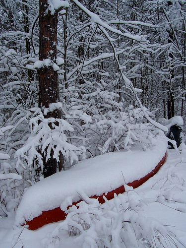 Canoe in winter