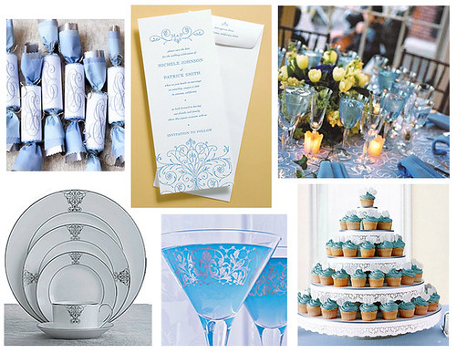 Blue Scroll Engagement Party (Bridal Shower, Rehearsal Dinner, Wedding) por Tastefully Entertaining.
