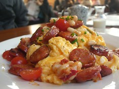 Scrambled Eggs with Chorizo, Cannelini Beans, Cherry Tomatoes - The Maling Room (avlxyz) Tags: breakfast tomato cafe egg postoffice sausage canterbury bean chorizo scrambled cannelini themalingroom eatdrinkblog2010