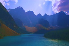 Moraine lake revisited (Johan_Leiden) Tags: lake canada mountains forest landscape meer alberta banff rockymountains bergen sunrays mountainlake hdr landschap banffnationalpark morainelake mountainrange patchesoflight bergmeer aplusphoto lakesurface theperfectphotographer bestflickrphotography