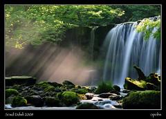 Scwd Ddwli - 2008 (opobs) Tags: morning sunlight water southwales wales waterfall rocks rays wfc pontneddfechan neathvalley welshflickrcymru michaelstokes opobs scwdddwli justhitmewithyourbestshotfifthplacejuly2008photocontest
