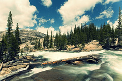 Tuolumne River #1 (guissimo) Tags: california blue trees nature water clouds canon river landscape hiking sierra yosemite 5d sierranevada mariposa tuolumne tuolumneriver mariposacounty