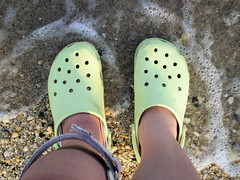 dippin' crocs (Blazing Moon) Tags: summer beach water sand surf lookingdown crocs afo pineypoint whereistand