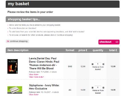 HMV shopping basket