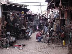 The metal workers (Seabagg) Tags: africa marrakech metalworkers marrakesh souks