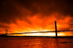 Forth Road Bridge in amber (Semi-detached) Tags: road bridge sunset architecture clouds scotland edinburgh long exposure arch crossing suspension tide north estuary forth current firth currents queensferry aplusphoto