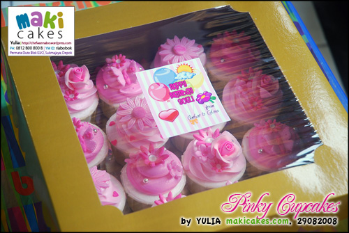 Pinky Cupcakes in box - Maki Cakes