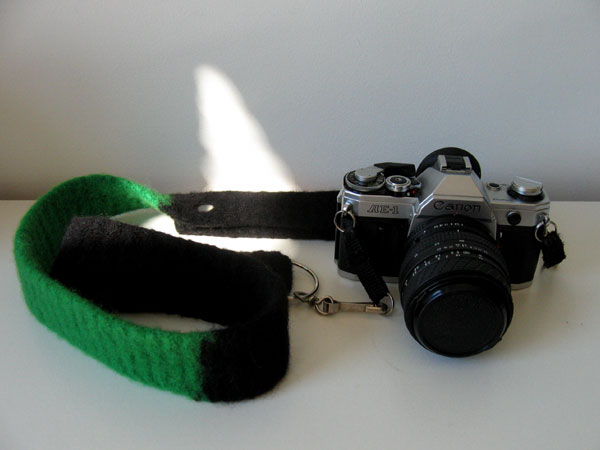 felted canon strap