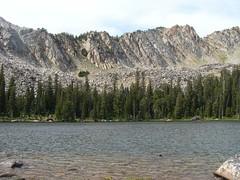Mountain from one of Twin lakes (Martin LaBar) Tags: mountain lake water landscape montana rocks waves hike scree ripples twinlakes conifers naturesfinest beaverheadcounty tentmountain beaverheadnationalforest