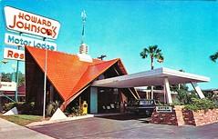 Howard Johnson's Restaurant and Motor Lodge,  Fort Walton Beach Florida, 1970's vintage postcard (stevesobczuk) Tags: roof orange beach station wagon fishing florida fort howard motel palm johnsons walton