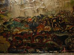9/12/08 Free Wall (sixheadedgoblin) Tags: night stencil lotus spray mel roller publicart splash mode olympiawashington vile booyah twigg adze lotusblossom selk freewall dolem freewallwide2 youblistermypaint