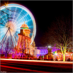 Traffic Trails at the Winter Wonderland (andrewwdavies) Tags: christmas city longexposure cars wales 1 lowlight traffic fairground cityhall tripod capital cymru cardiff explore nighttime caerdydd ferriswheel bigwheel frontpage wfc winterwonderland numberone helterskelter number1 traffictrails neuaddyddinas explored canonef24105mmf4lisusm explore1 welshflickrcymru canoneos40d andrewwilliamdavies