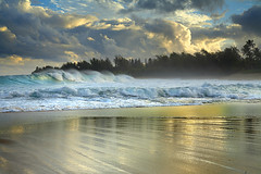 Haena Surf - Kauai, Hawaii (PatrickSmithPhotography) Tags: ocean travel sea wallpaper vacation sky usa cloud seascape sunrise canon landscape hawaii 1 fantastic sand bravo paradise pacific wave palm explore kauai 5d 2008 hanalei kee haena 1740l topf1000