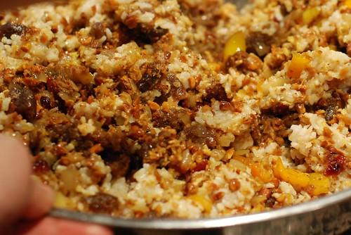 Biryani w/ dried fruit, almonds, bell pepper, and spice