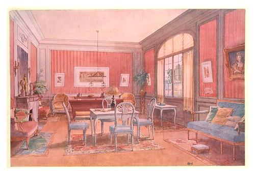 008- Sala de juegos con mesa de billar-acuarela 1907