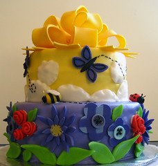 Summer Cake (disneychick) Tags: flowers summer yellow clouds butterfly purple bee bow ladybug wilton fondant course3 wiltoncakedecoratingclass pinkcakeboxcom thepinkcakebox