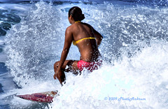Surfer Girl HDR (PhotoAnkrum.com) Tags: ocean hawaii maui surfing paia hookipa 5photosaday larryankrum colorphotoaward photoankrum