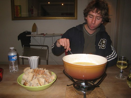 Stefan and I enjoy some cheesy fondue and white wine