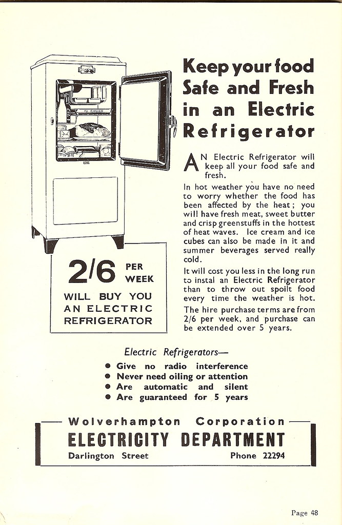 Wolverhampton Corporation Electricity Dept, advert 1948