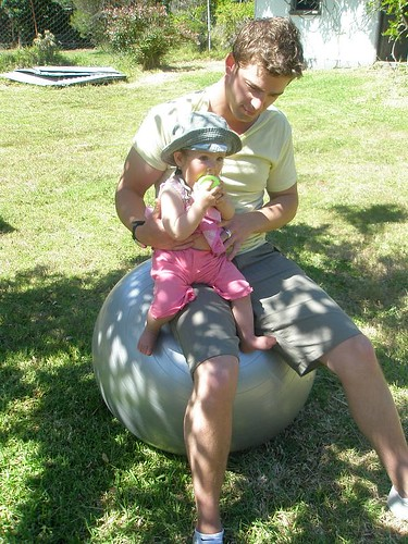 Small Z and her uncle on the fitball