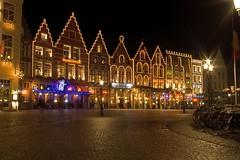 Market Square, Bruges (AppleDave) Tags: night square lights bars belgium market restaurants bruges cobbles