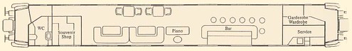 Train Chartering - Classic Orient-Express/Wagon-Lits Carriage adapted for piano bar - plan