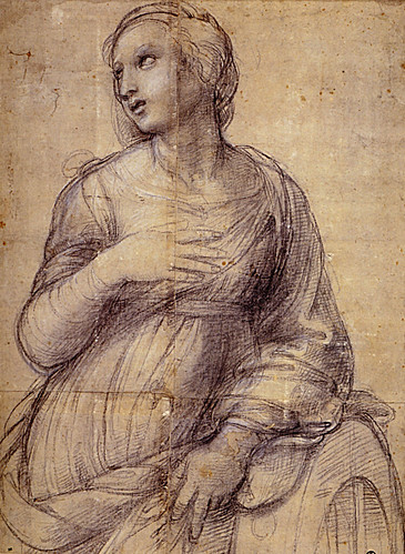 1507  Raphael    Cartoon for Saint Catherine of Alexandria Black Chalk  Paris, musée du Louvre