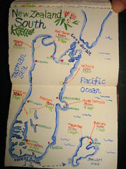 Map of New Zealand South (noriko.stardust) Tags: travel original newzealand art illustration painting notebook japanese map drawing illustrated journal picture illustrations blogger watercolour southisland handdrawn greatwalks notebookism illustratedmap