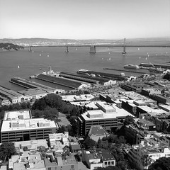 San Francisco from Coit Tower (!STORAX) Tags: sanfrancisco california urban bw usa architecture buildings unitedstates unitedstatesofamerica baybridge embarcadero